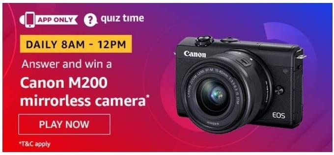 Amazon Quiz Answers Win Cannon M200 Mirrorless Camera
