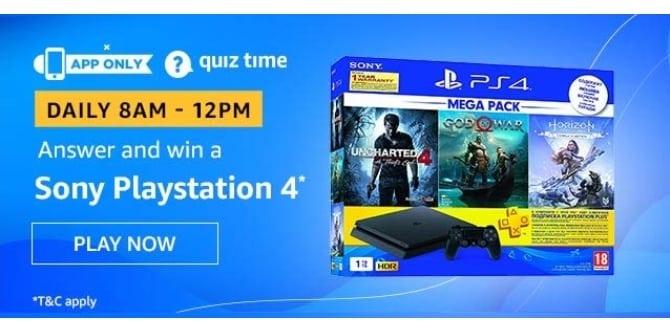 Amazon Quiz Answers Win Playstation 4